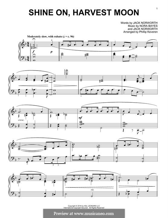 Shine On, Harvest Moon: For piano by Nora Bayes