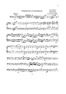 Concerto for Piano and Orchestra No.5 in D Major, K.175: Arrangement for string quintet – cello and double bass part by Wolfgang Amadeus Mozart