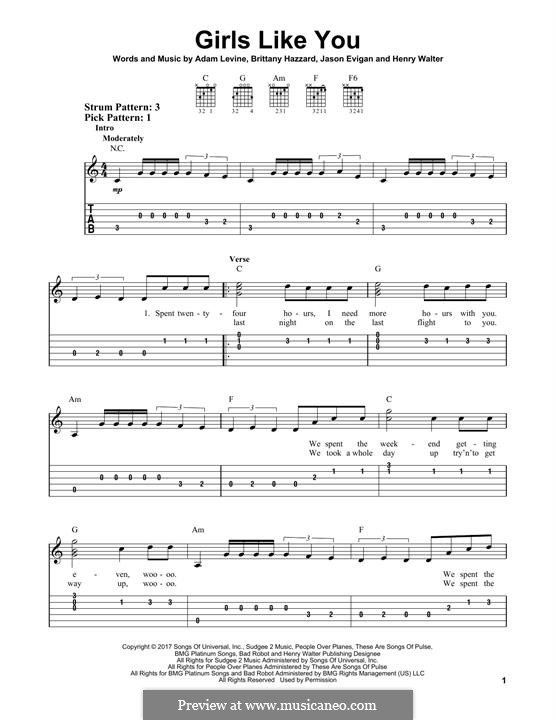 Girls Like You (Maroon 5): For guitar with tab by Adam Levine, Henry Russell Walter, Jason Evigan, Brittany Hazzard