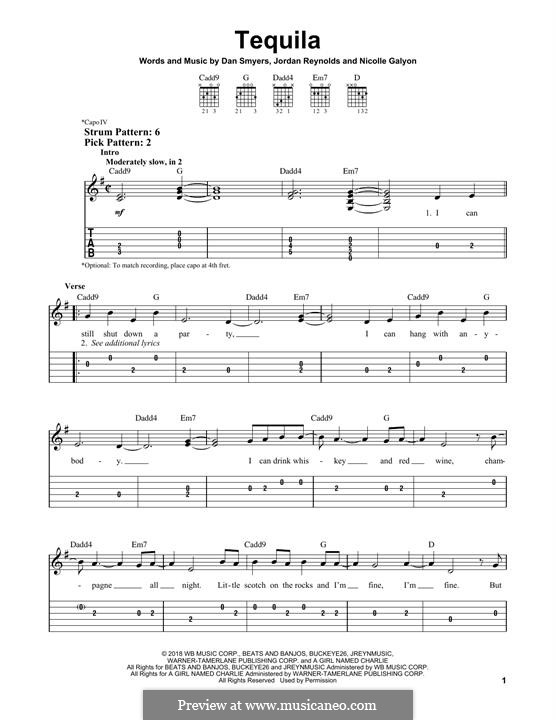 Tequila (Dan + Shay): For guitar with tab by Nicolle Galyon, Dan Smyers, Jordan Reynolds