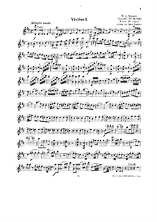 Concerto for Piano and Orchestra No.16 in D Major, K.451: Arrangement for string quintet – violin I part by Wolfgang Amadeus Mozart
