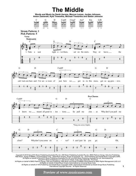 The Middle (Zedd, Maren Morris & Grey): For guitar with tab by Anton Zaslavski, Marcus Lomax, Stefan Johnson, Jordan Johnson, Sarah Aarons, Kyle Trewartha, Michael Trewartha