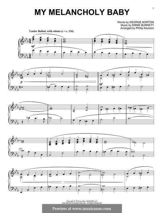 My Melancholy Baby: For piano by Ernie Burnett