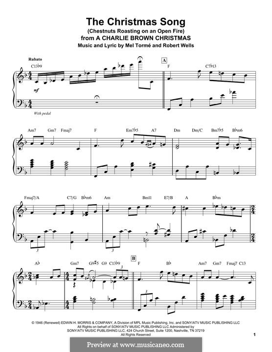 The Christmas Song (Chestnuts Roasting on an Open Fire), for Piano: For a single performer by Mel Tormé, Robert Wells