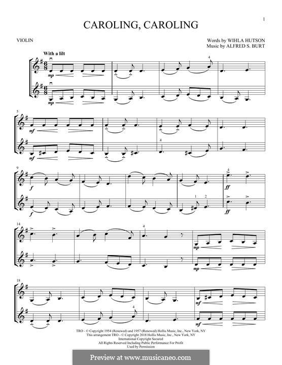Caroling, Caroling (Nat King Cole): For two violins by Alfred Burt