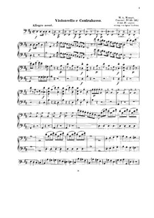 Concerto for Piano and Orchestra No.16 in D Major, K.451: Arrangement for string quintet – cello and double bass part by Wolfgang Amadeus Mozart