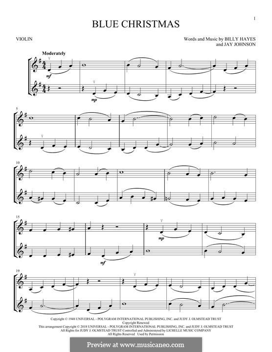 Blue Christmas: For two violins by Billy Hayes, Jay Johnson