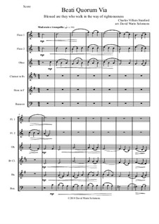 Beati Quorum Via: For wind sextet (2 flutes, oboe, clarinet, horn, bassoon) by Charles Villiers Stanford