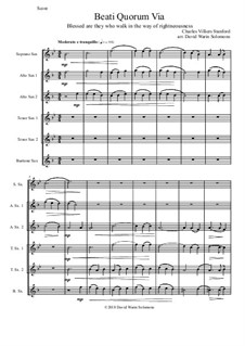 Beati Quorum Via: For saxophone sextet by Charles Villiers Stanford