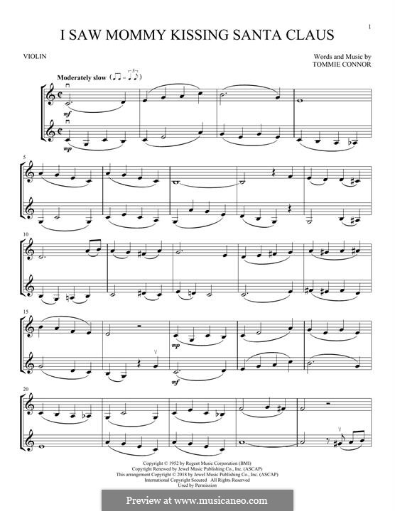 I Saw Mommy Kissing Santa Claus: For two violins by Tommie Connor