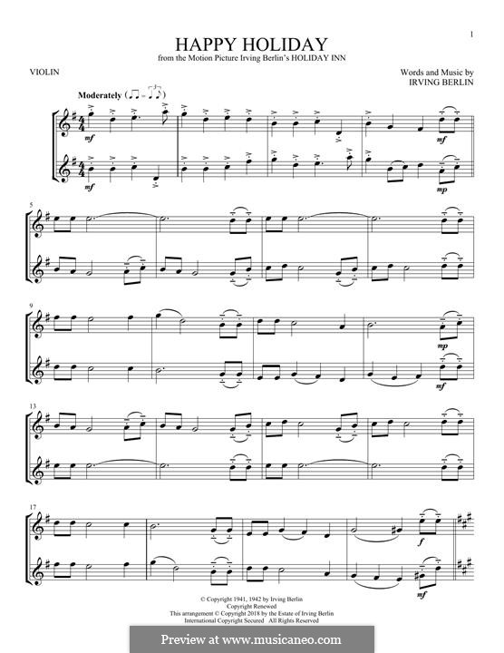Happy Holiday: For two violins by Irving Berlin