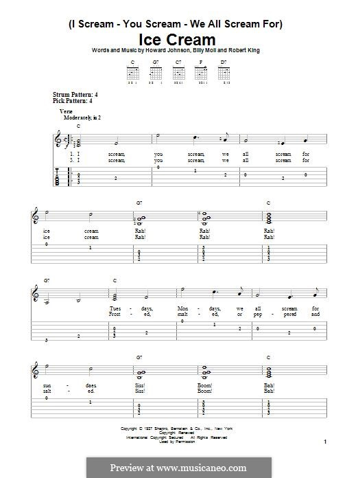 (I Scream-You Scream-We All Scream For) Ice Cream: For guitar with tab by Robert King, Howard E. Johnson, Billy Moll