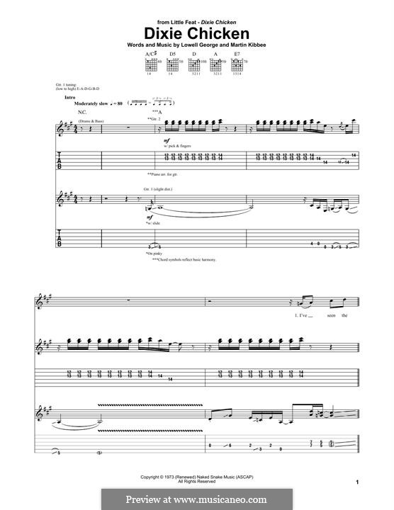 Dixie Chicken (Little Feat): For guitar with tab by Lowell George, Martin Kibbee