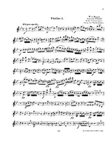 Concerto for Piano and Orchestra No.6 in B Flat Major, K.238: Arrangement for string quintet – violin I part by Wolfgang Amadeus Mozart