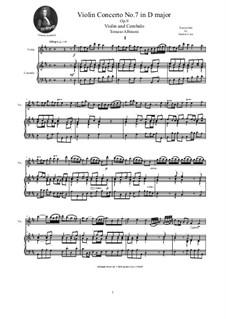 Dodici concerti a cinque, Op.9: Concerto No.7 in D major, for violin and cembalo (or piano) by Tomaso Albinoni