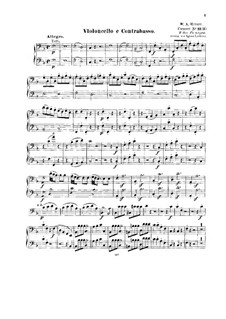 Concerto for Piano and Orchestra No.19 in F Major, K.459: Arrangement for string quintet – cello and double bass part by Wolfgang Amadeus Mozart