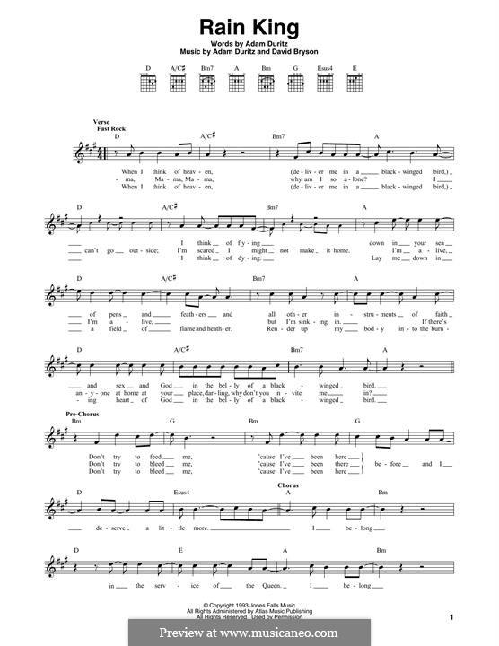 Rain King (Counting Crows): Melody line by Adam F. Duritz, Charles Gillingham, David Bryson, Matthew Malley, Steve Bowman