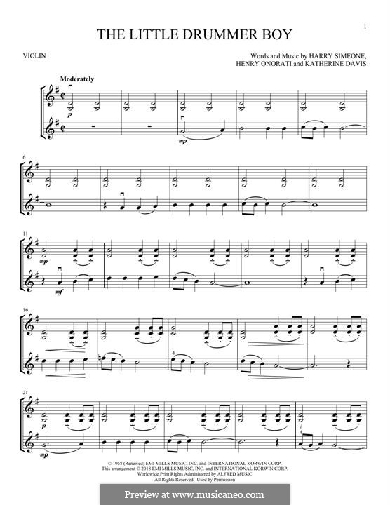 The Little Drummer Boy: For two violins by Harry Simeone, Henry Onorati, Katherine K. Davis