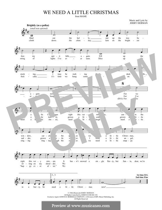 We Need a Little Christmas: For flute by Jerry Herman