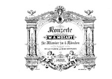 Concertos for Piano and Orchestra: No.15, 20. Arrangement for piano four hands, K.450, 466 by Wolfgang Amadeus Mozart