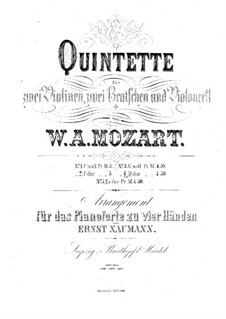 String Quintet No.5 in D Major, K.593: Arrangement for piano four hands by Wolfgang Amadeus Mozart