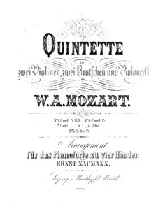 String Quintet No.2 in C Minor, K.406/516b: Arrangement for piano four hands by Wolfgang Amadeus Mozart