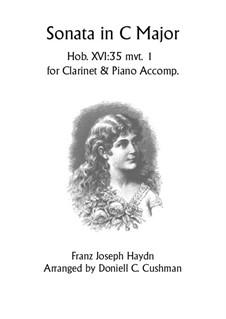 Sonata for Piano No.48 in C Major, Hob.XVI/35: Movement I, for clarinet and piano by Joseph Haydn