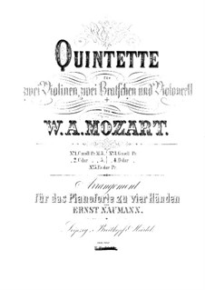 String Quintet No.3 in C Major, K.515: Arrangement for piano four hands by Wolfgang Amadeus Mozart