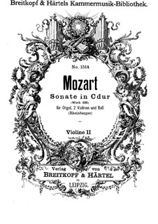 Church Sonata for Two Violins, Organ and Basso Continuo No.15 in C Major, K.328 (317c): Violin II part by Wolfgang Amadeus Mozart