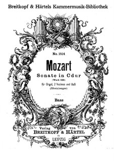 Church Sonata for Two Violins, Organ and Basso Continuo No.15 in C Major, K.328 (317c): Cello and double bass part by Wolfgang Amadeus Mozart