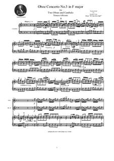 Dodici concerti a cinque, Op.9: Concerto No.3 in F-Dur, for two oboes and cembalo (or piano) by Tomaso Albinoni