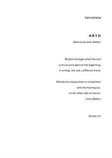 A R T O (Memory by Arto Melleri), Op.64: Flute, clarinet and strings by Karina Baras