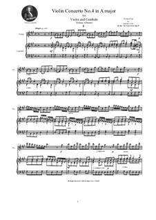 Dodici concerti a cinque, Op.9: Concerto No.4 in A major, for violin and cembalo (or piano) by Tomaso Albinoni
