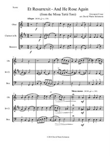 Et Resurrexit (and He rose again): For reed trio by Giovanni Croce