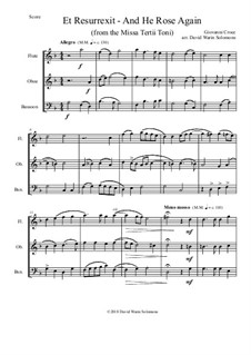 Et Resurrexit (and He rose again): For wind trio by Giovanni Croce