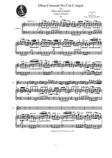 Dodici concerti a cinque, Op.9: Concerto No.5 in C major, for oboe and cembalo (or piano) by Tomaso Albinoni
