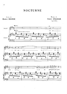 Four Melodies for Voice and Piano, Op.8: No.1 Nocturne by Ernest Chausson