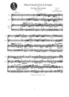 Dodici concerti a cinque, Op.9: Concerto No.6 in G major, for two oboes and cembalo (or piano) by Tomaso Albinoni