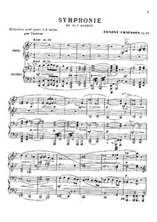 Symphony in B Flat Major, Op.20: Arrangement for piano four hands by Ernest Chausson