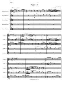 Kyrie canon a 5: For 5 soprano recorders by Wolfgang Amadeus Mozart