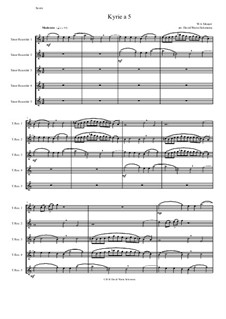 Kyrie canon a 5: For 5 tenor recorders by Wolfgang Amadeus Mozart