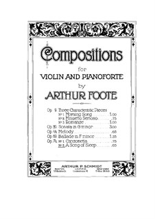 Two Pieces for Violin and Piano, Op.74: No.2 A Song of Sleep – violin part by Arthur Foote