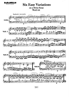 Six Easy Variations on Swiss Song for Piano, WoO 64: For a single performer by Ludwig van Beethoven