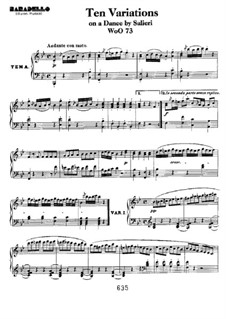Ten Variations on Theme 'La stessa, la stessissima' from 'Falstaff' by Salieri, WoO 73: For piano by Ludwig van Beethoven