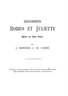 Romeo et Juliette (Romeo and Juliet): Vocal score by Charles Gounod
