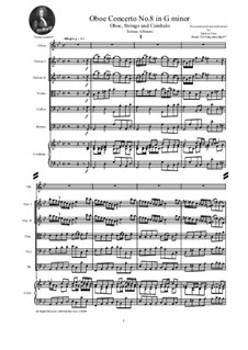 Dodici concerti a cinque, Op.9: Concerto No.8 in G minor - score and parts by Tomaso Albinoni