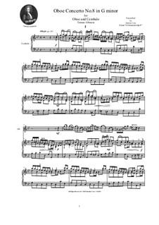 Dodici concerti a cinque, Op.9: Concerto No.8 in G minor, for oboe and cembalo (or piano) by Tomaso Albinoni