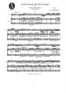 Dodici concerti a cinque, Op.9: Concerto No.10 in F major, for violin and cembalo (or piano) by Tomaso Albinoni
