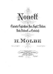 Nonet for Winds and Strings, Op.61: Violin I part by Heinrich Molbe