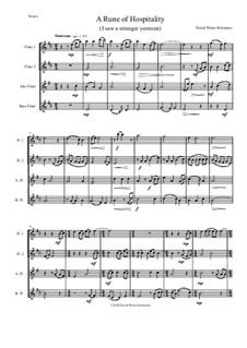 A Rune of hospitality - I saw a stranger yestreen: For flute quartet by David W Solomons